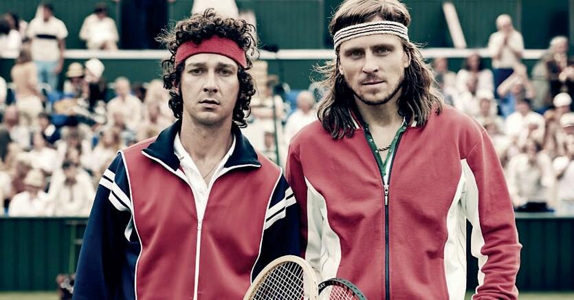 Wimbledon, 1980.John McEnroe (Shia LaBeouf) e Bjorn Borg (Sverrir Gudnason)