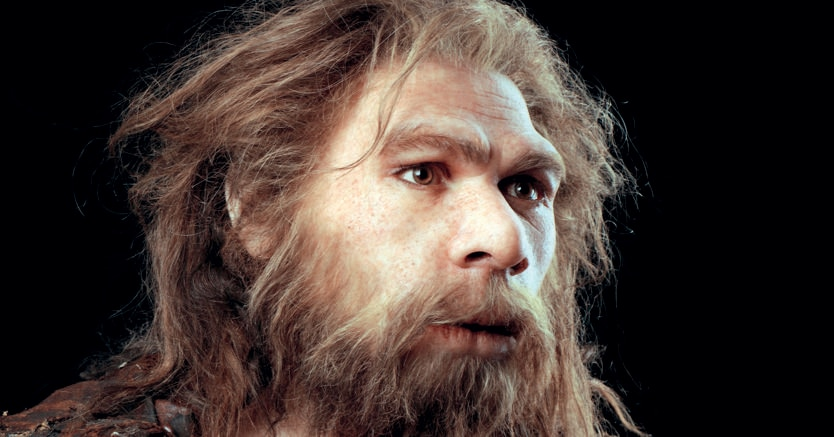 Uomo di Neandertal. Ricostruzione,  Museo della Preistoria di Halle, in  Germania