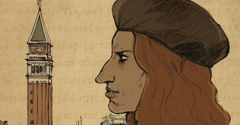 Profilo d'umanista.Immagine tratta dal frontespizio del libro «Aldo Manuzio» di Andrea Aprile e Gaspard Njock, pubblicato da Tunué, casa editrice specializzata in graphic novel