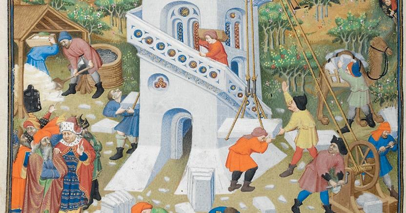 Manoscritto. La costruzione della Torre di Babele, dal  Libro delle Ore, British Library, Londra