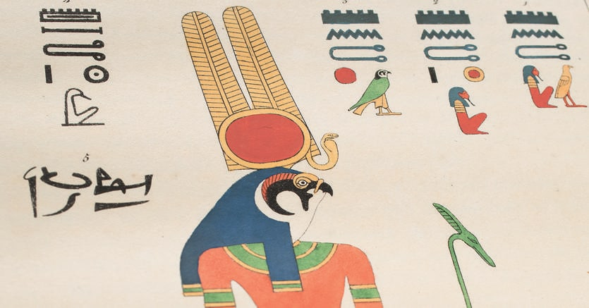 In mostra. Un'immagine in cui il nome del dio falco Montu è presente sia in alfebeto geroglifico sia in ieratico. Le due opere sono in mostra alla Fondazione Martin Bodmer di Cologny