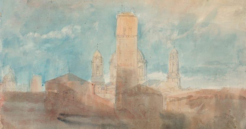 Veduta di Milano con le chiese di San Lorenzo, il campanile di San Giovanni in Conca e la chiesa di Sant'Alessandro (acquerello)