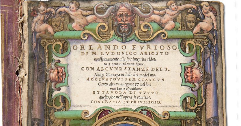 Il frontespizio dell'«Orlando furioso» nell'edizione di G. Giolito de' Ferrari, Venezia, 1542. Chicago, Newberry Library