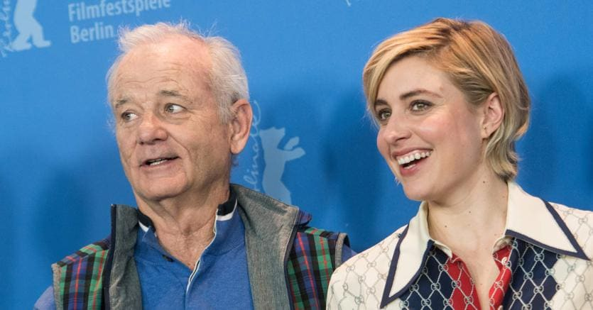 "Bill Murray e  Greta Gerwig durante la presentazione di ""Isle of dogs"" (Afp)"
