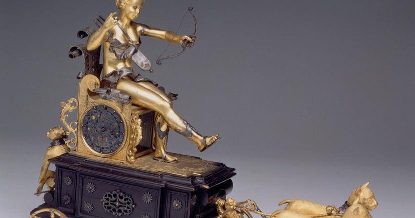 Orologi  in movimento. Achilles Langhenbucher, (attribuito a), «Automa il carro di Diana», 1610, argento, bronzo dorato, legno, ottone dorato, Milano, Museo Poldi Pezzoli