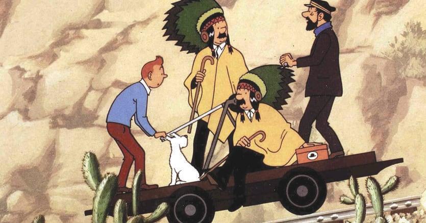 Creatività.Una delle vignette di Tintin nel Tempio del Sole (1969)