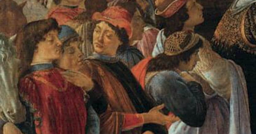 Mentore. Un angolo della «Adorazione dei Magi» (1477) di Botticelli, in cui al centro è raffigurato Pico della Mirandola