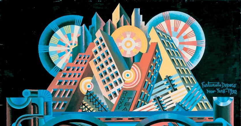 Forzata armonia|«Grattacieli e tunnel», paesaggio urbano in stile futurista dipinto da Fortunato Depero nel 1930 (Rovereto, Casa d'Arte Futurista Fortunato Depero).