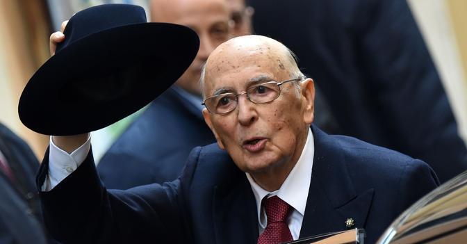 Il presidente della Repubblica dimissionario, Giorgio Napolitano (Olycom)