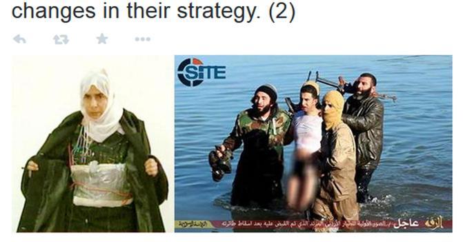 La terrorista Sajida al-Rishawi e Muadh al-Kassasbe, il pilota militare catturato, in una foto tratta dal profilo twitter di Rita Katz - Ansa