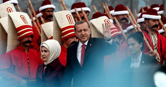 Il presidente turco Erdogan (Epa)