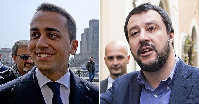Il vice presidente della Camera, Luigi Di Maio (a sinistra), e il segretario della Lega Matteo Salvini
