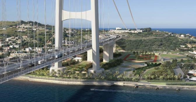 Una elaborazione grafica del progetto definitivo del ponte sullo Stretto di Messina (Ansa)