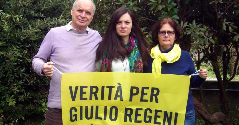 I genitori e la sorella di Regeni al l'Europarlamento (Ansa)