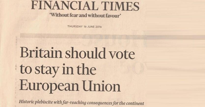 Gb, in vantaggio fronte pro Brexit. Sun si schiera: 'BeLEAVE in Britain'