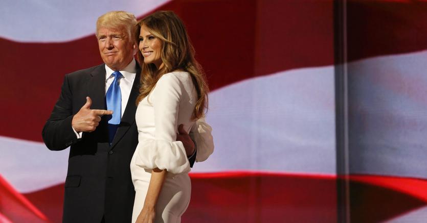 Donald Trump con la figlia Melania (Epa)