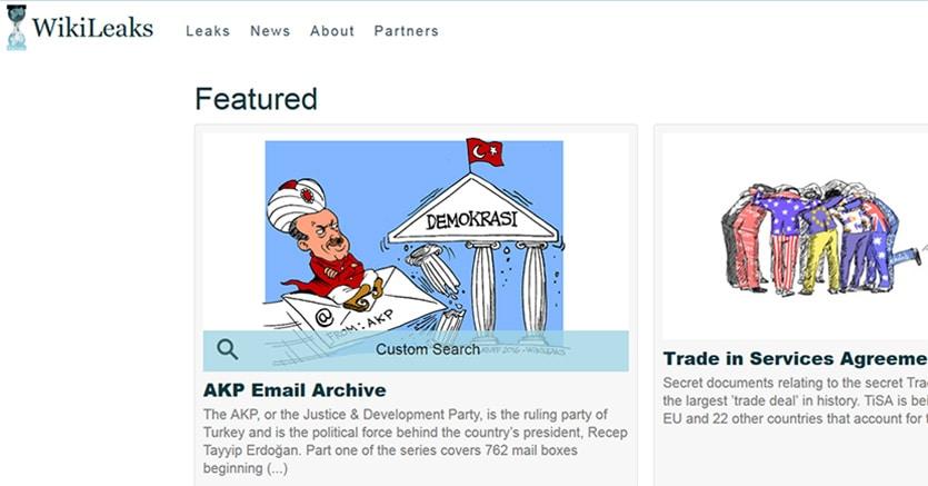 Turchia, WikiLeaks pubblica 295mila mail dell'Akp