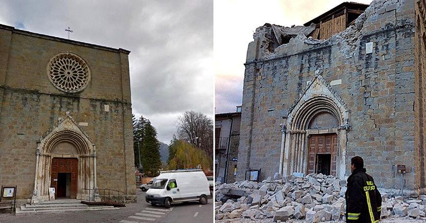 La combo mostra la Chiesa di San Francesco ad Amatrice tratta da Google Street View (sulla sinistra) e la stessa chiesa dopo il forte terremoto di oggi, 24 agosto 2016 (Ansa)