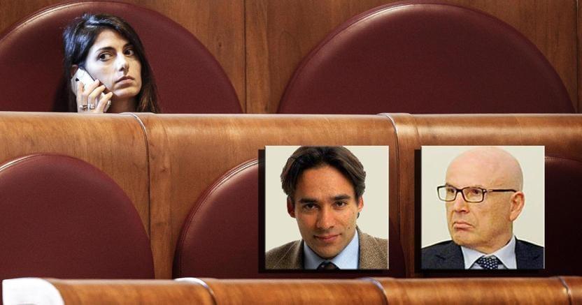 La sindaca Virginia Raggi e i neo assessori: Andrea Mazzillo (a sinistra) e Massimo Colomban (a destra)