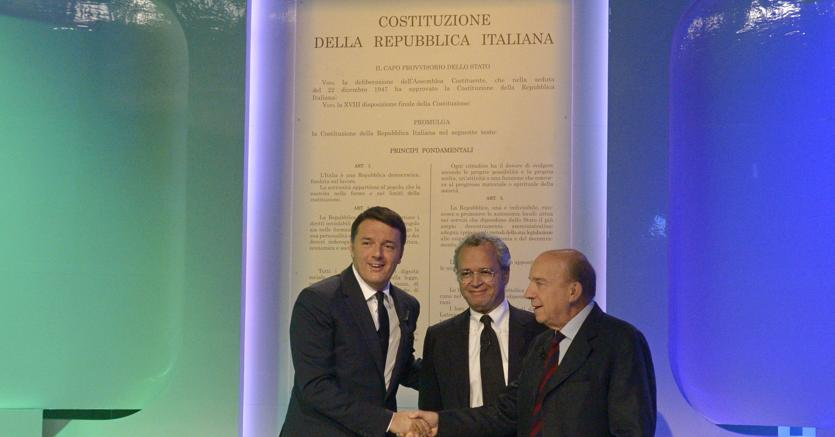 Matteo Renzi, Enrico Mentana e Gustavo Zagrebelsky (Imagoeconomica)