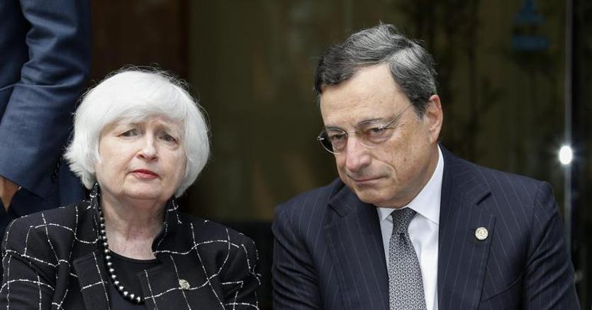 Janet  Yellen e Mario Draghi al G-7 in Giappone nel maggio scorso (Epa)