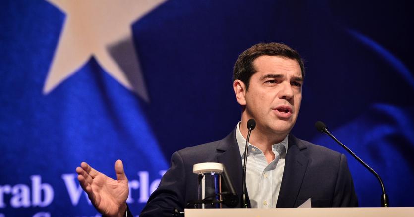 Alexis Tsipras  nel corso di un summit ad  Atene (Afp)