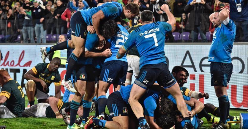 L'esultanza degli Azzurri nella gara contro il Sudafrica (Ansa)
