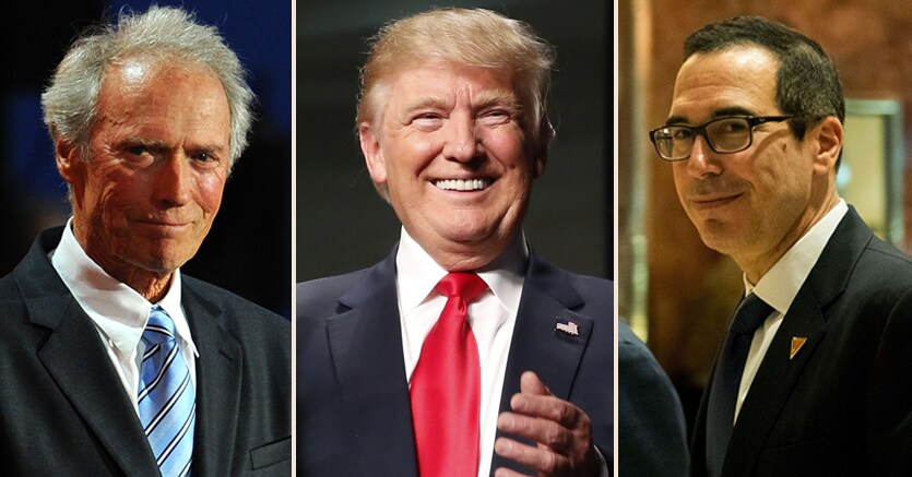 Donald Trump in mezzo a Clint Eastwood e Steve Mnuchin