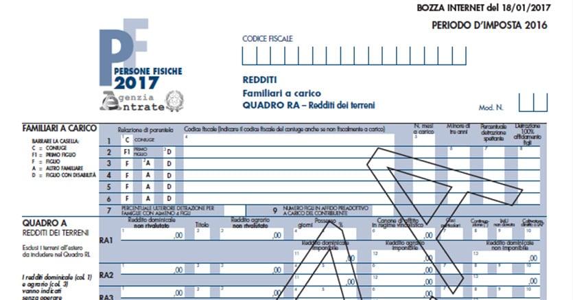 Modello Redditi Pf 2017, Online Le Bozze Con Le Istruzioni