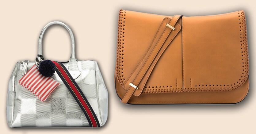 A sinistra la Gum Bag color argento con tracolla; a destra il modello Helena, in cuoio, del marchio Gianni Chiarini