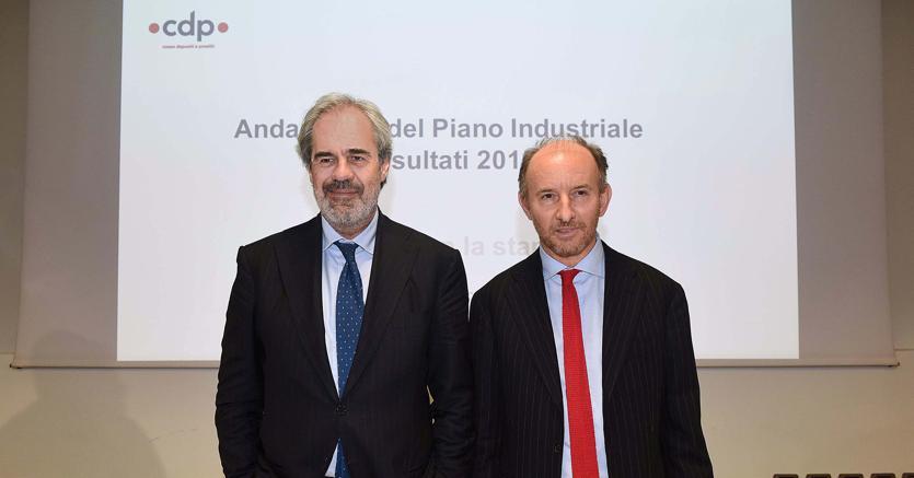 Il presidente di Cdp Claudio Costamagna e l'ad Fabio Gallia