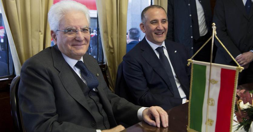 Sergio Mattarella e Renato Mazzoncini (Ansa)