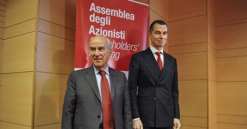 Giuseppe Vita, presidente di UniCredit, con l'amministratore delegato Jean Pierre Mustier