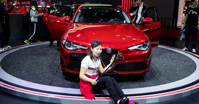 La Giulia Alfa Romeo al salone di Shanghai. (AFP)