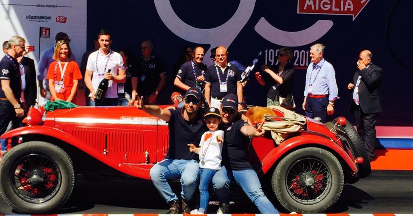 I vincitori Andrea Vesco e Andrea Guerini su Alfa Romeo 6C 1750 Gran Sport del 1931