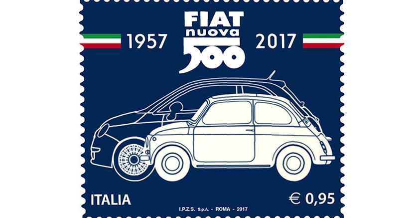 un francobollo speciale per celebrare i 60 anni della fiat 500