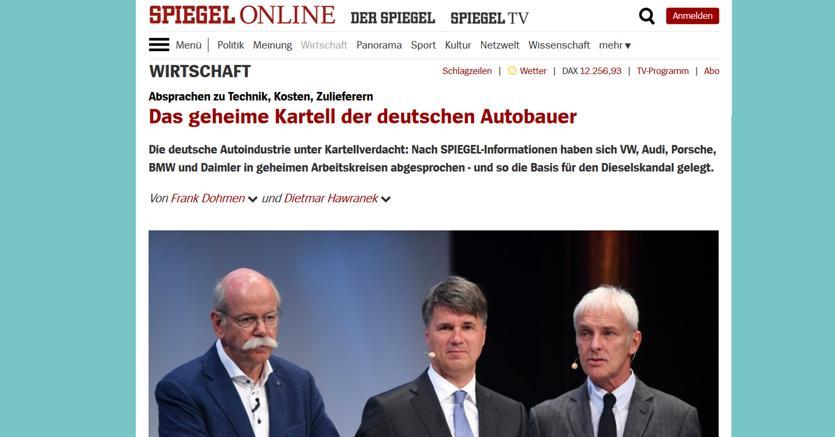 Dieselgate, intese segrete tra case tedesche da 25 anni