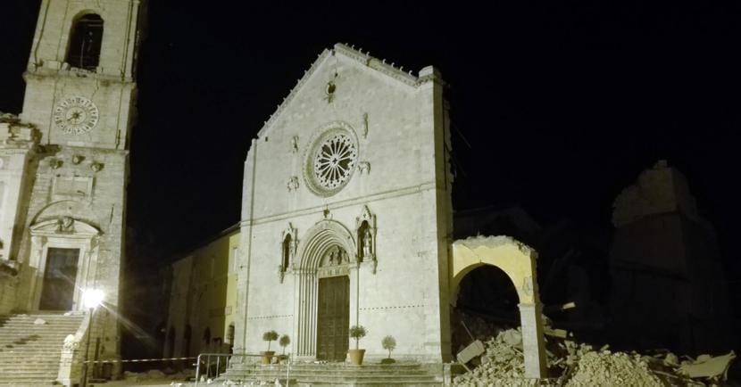 I resti della Basilica di San Benedetto a  Norcia