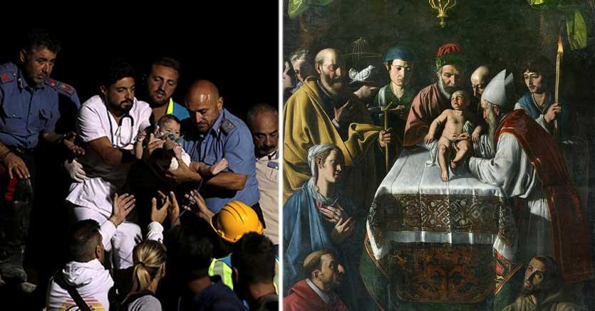 A sinistra il salvataggio del piccolo Pasqualino, a destra un dipinto del caravaggesco Tanzio da Varallo