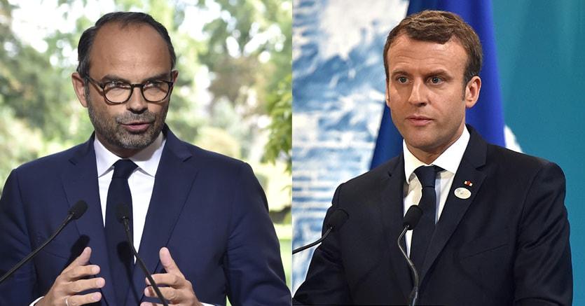 Il primo ministro francese, Edouard Philippe, e il presidente francese Emmanuel Macron