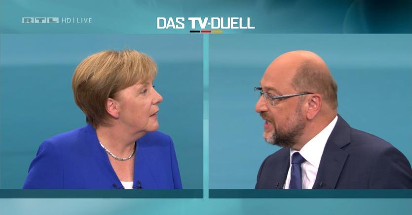 Berlino, duello in tv fra i candidati alla cancelleria: Shultz e Merkel