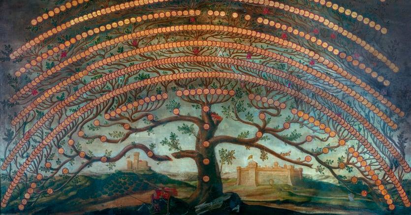 L'albero di famiglia Frescobaldi che varrà riprodotto nel privé del nuovo ristorante su una parete di oltre sei metri