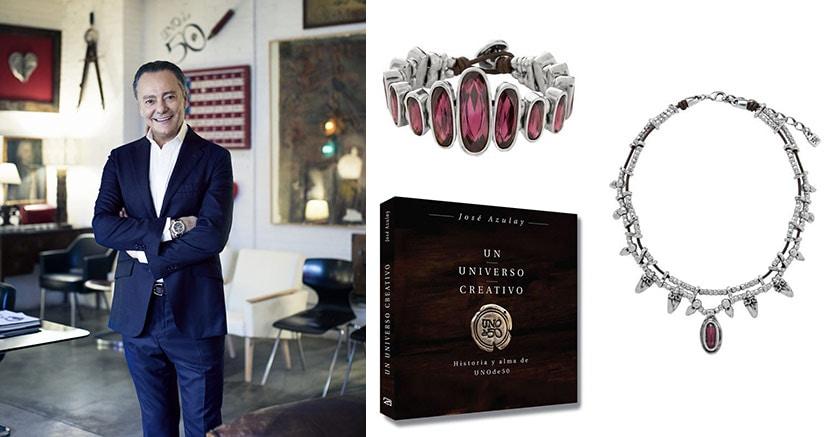 """José Azulay, presidente di UNOde50. Dall'alto, bracciale e collana di una recente collezione. A destra, la """"biografia"""" del marchio e dell'imprenditore che lo ha fondato negli anni 90"""