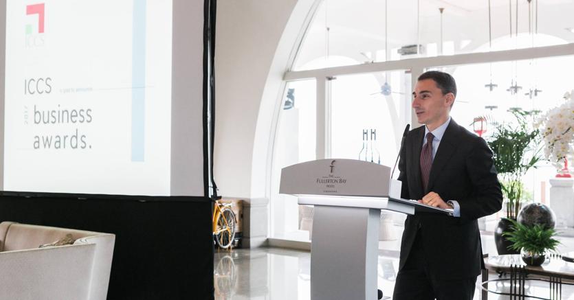 Federico Donato, presidente dell'Italian Chamber of Commerce in Singapore, durante i Business Awards 2017