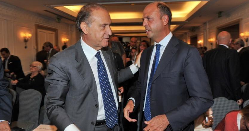 Lorenzo Cesa, leader dell'Udc, insieme ad Angelino Alfano, numero uno di Alternativa popolare