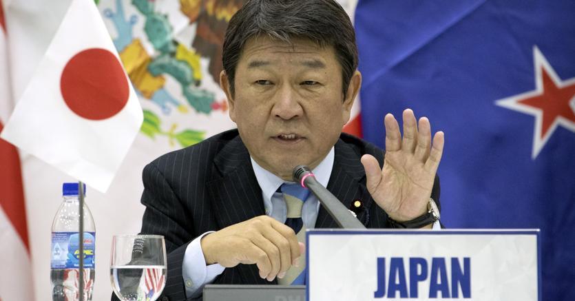 Il ministro giapponese del commercio, Toshimitsu Motegi (Ap)