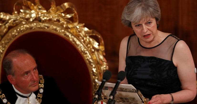Theresa May ieri al Lord Mayor's Banquet (Reuters)