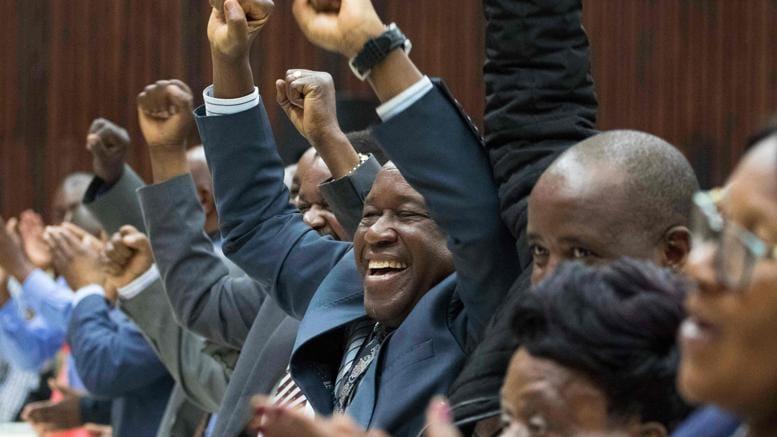 L'esultanza del leader dei veterani dell'esercito per la destituzione di Mugabe (Afp)