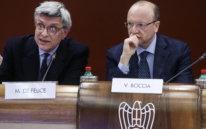 Il presidente di Confindustria, Vincenzo Boccia e il presidente dell'Inail, Massimo De Felice