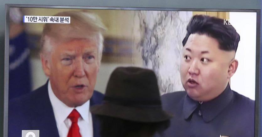 Donald Trump e Kim Jong-un in un fotomontaggio